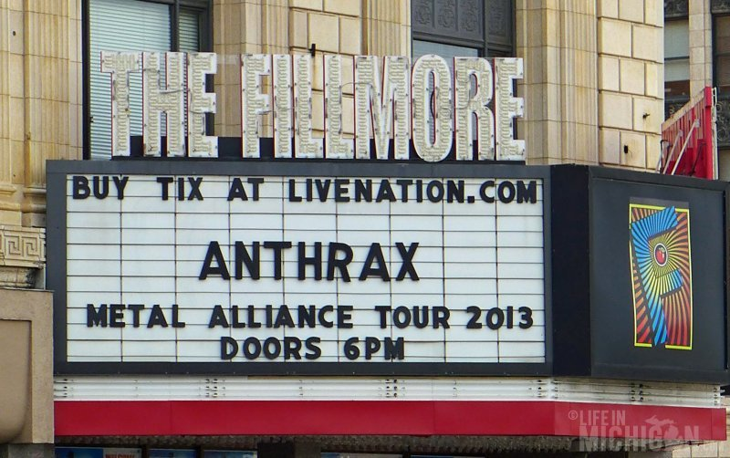 The Fillmore marquee with Anthrax