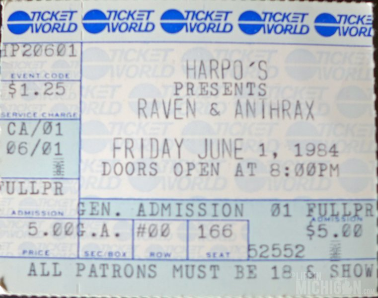 1984 ticket stub from the first time I saw Anthrax