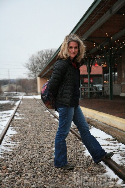Brenda checks out the tracks outside The Filling Station