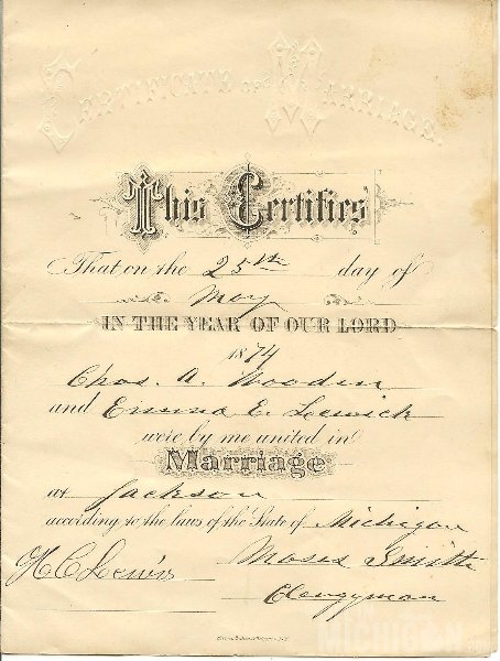 Emma and Charles Wedding Certificate