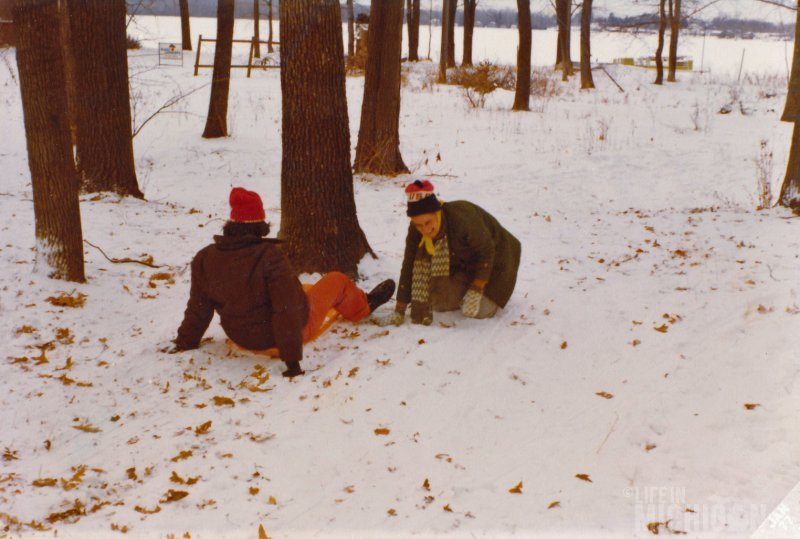 Mom and Sister Jean find a tree at the end of the lazy lopper in Pinckney