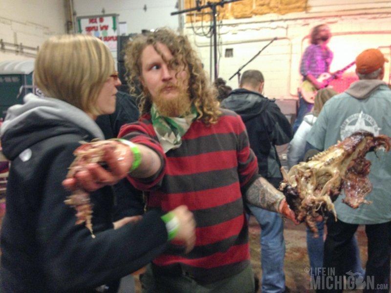 Crazy dude with an alligator head-Um no thanks