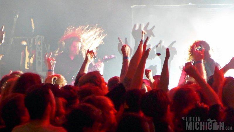 Jon Donais headbanging with the crowd