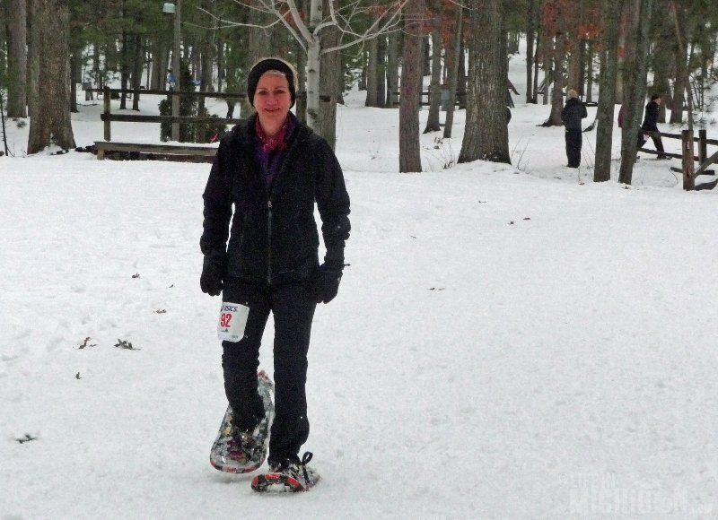 Bigfoot Boogie Snowshoe Race - Brenda Sodt Foster finishes
