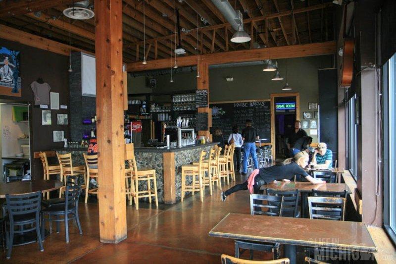 Bright interior of Black Lotus Brewery