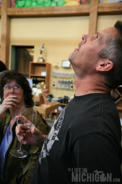 Jeff demonstrating proper wine tasting techniques