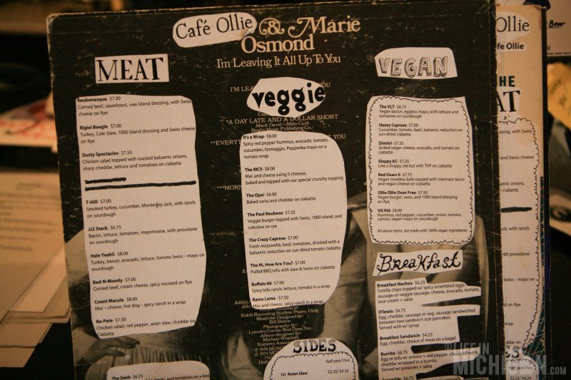 A fantastic menu with something for all at Cafe Ollie