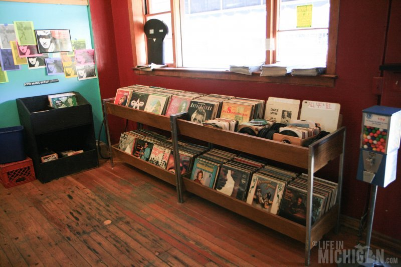 Stacks of wax at Cafe Ollie