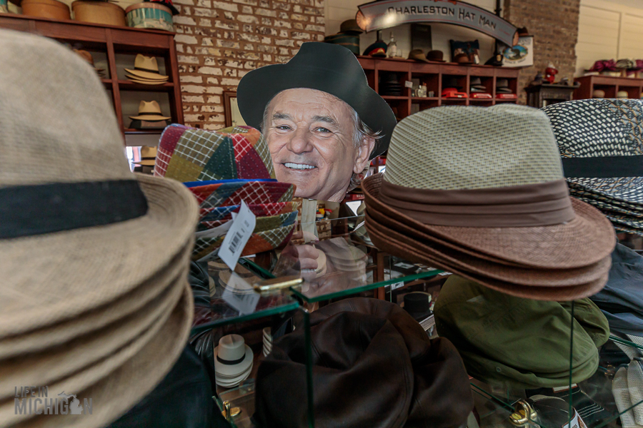 Bill Murray in Charleston hat shopping