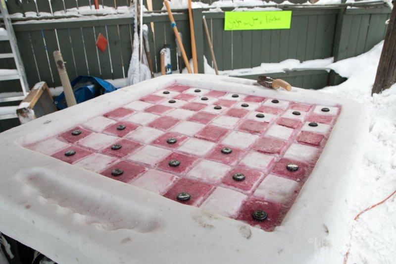 Checker Board Snow Sculpture