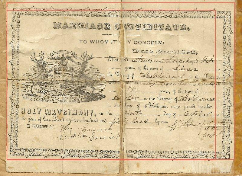 Andrew Lewick and Cornelia Emerick Marriage License