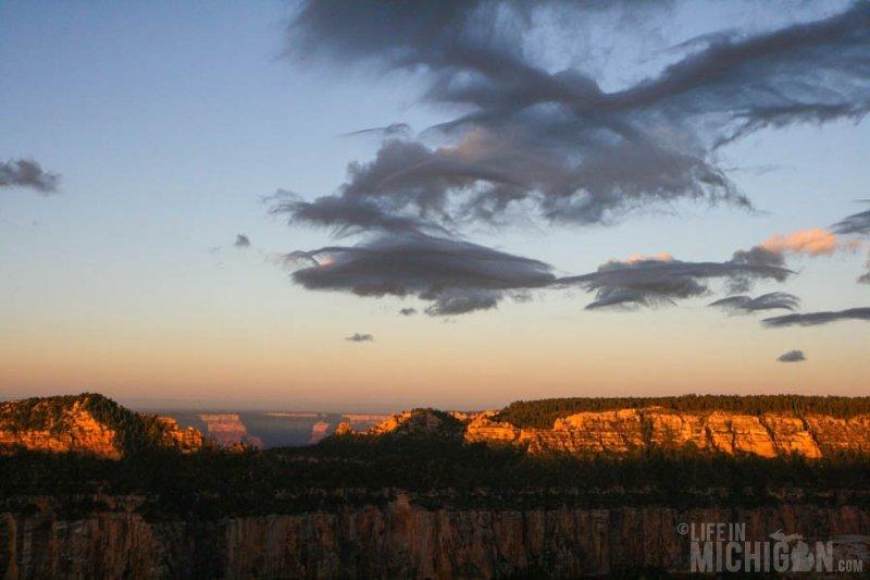 Canyon walls lit with morning sun - North rim Grand Canyon