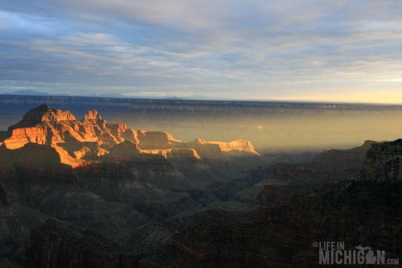 Sun rays of sunset lights the canyon - North Rim Grand Canyon