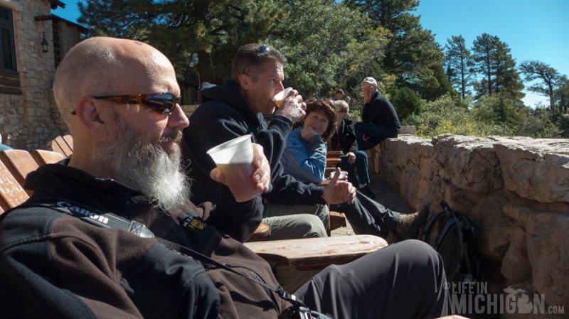 Enjoying a Lumberyard IPA at the Grand Canyon Lodge