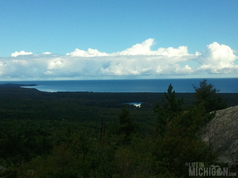 Hogback Mountain Hike view of Lake Superior and Harlow Lake in the for ground