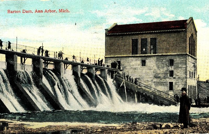 Barton Damn Ann Arbor Michigan, Postcard from Ruth Lewick to Reuben Sodt 1914