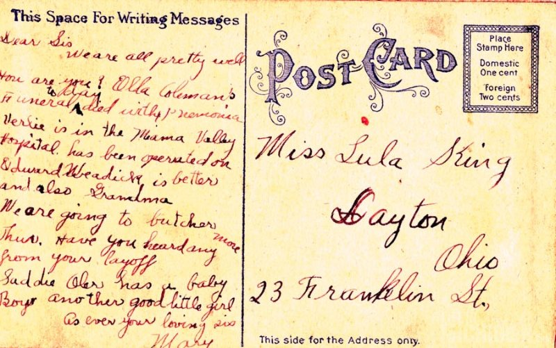 Mary King's Postcard to her sister Lula King