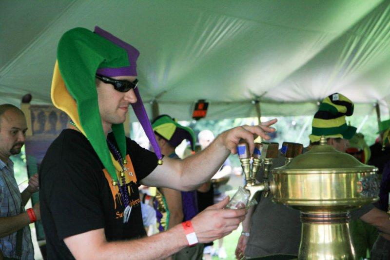 Mardi Gras jesters at Kuhnhenn Brewing