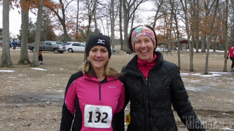 Brenda and Anne trying to stay warm before the No Frills All Thrills Trail Race