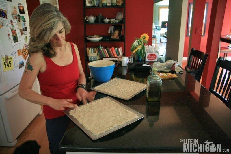 Brenda working the dough