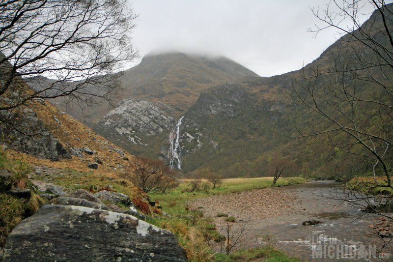 Entering Glen Nevis with Steall falls ahead
