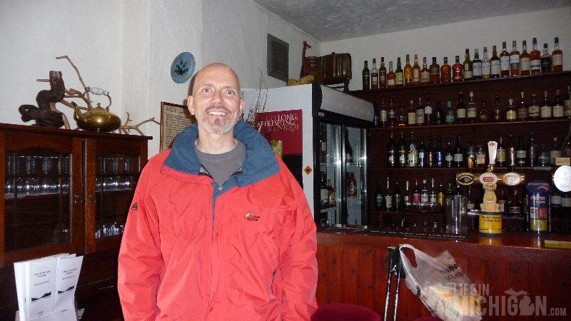 Chuck Marshall in bar at the MacDonald Hotel