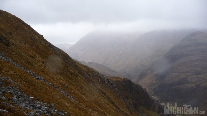 The Misty mountains surround us on the trail to the Ring of Steall
