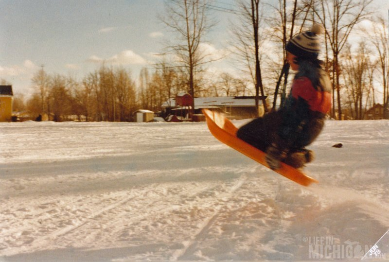 Jim hits the monster ice ramp in Pinckney